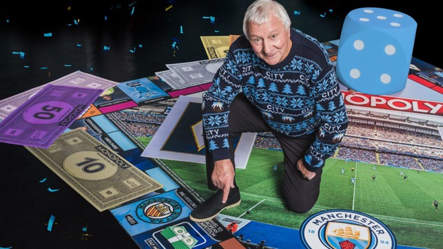 LEGEND: Mike Summerbee inspects his Monopoly square.