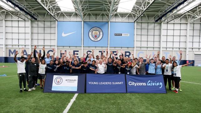 FINALE: Celebrating a successful football festival.