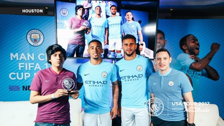 TEAM-MATES: Kyle and Gabriel with the PlayStation and Xbox winners of the Man City FIFA 17 Cup.