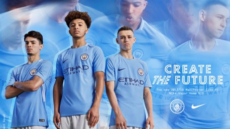 THE FUTURE: Brahim Diaz, Phil Foden and Jadon Sancho model the kit our EDS and Academy teams will also wear.