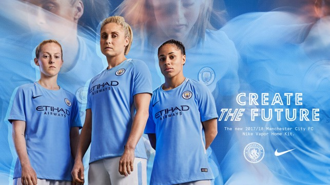 SKY BLUES: Steph Houghton, Demi Stokes and Keira Walsh try the new kit on.