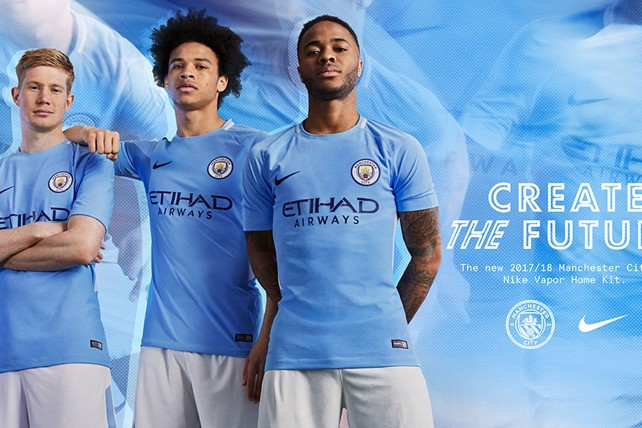 CREATE THE FUTURE  The 2017 18 Manchester City home kit. 04ef94252