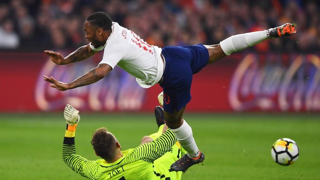 SOARING STERLING: Raheem in action against Holland