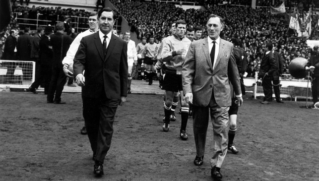 Joe proudly leads City out against Leicester City in the 1969 FA Cup final