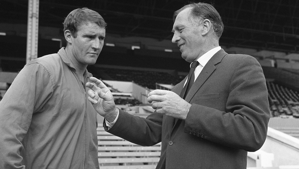 Joe and Malcolm Allison shortly after taking the reins at Maine Road
