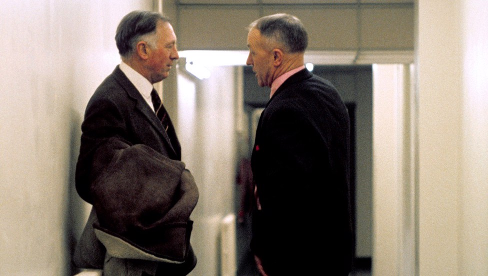 Meeting of great minds: Joe and legendary Liverpool boss Bill Shankly have a quiet chat ahead of City's game at Anfield (1971)