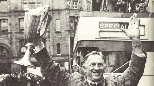 Another trophy, another city centre reception - Joe leads the celebrations after clinching the European Cup Winners' Cup in 1970