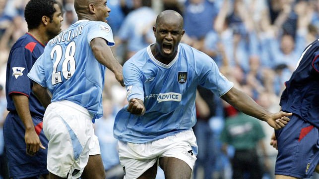 THE BEGINNING: Davie Sommeil scored the first ever PL goal at the City of Manchester stadium