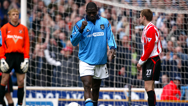 THE END: Marc Vivien-Foe scored the last City goal at Maine Road