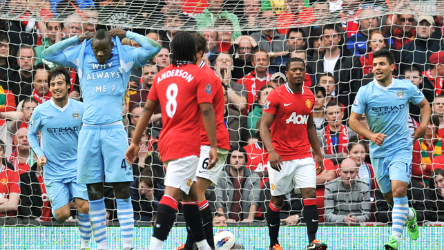WHY ALWAYS ME: A very interesting way to celebrate a goal in a 1-6 win at Old Trafford