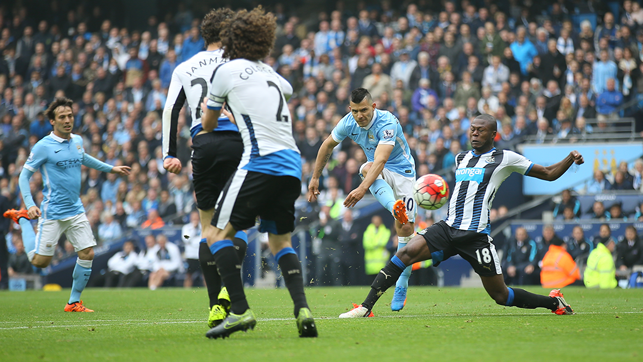FIVE: Aguero scored five for City against Newcastle