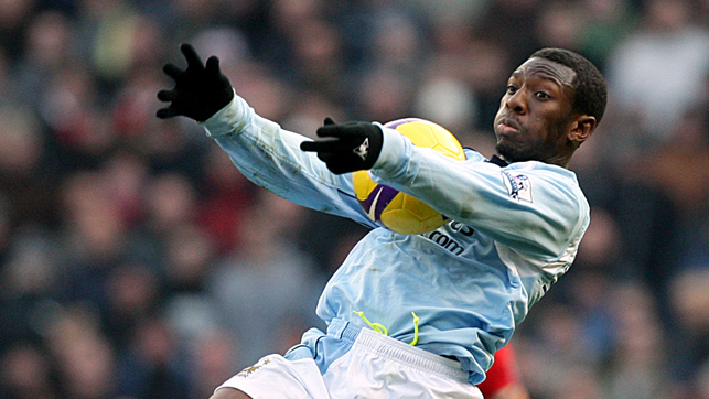 DERBY DAY: Shaun Wright-Phillips scores the first Manchester Derby goal at the City of Manchester Stadium