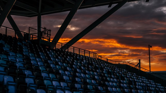 SUNSET: Inside the Academy Stadium.