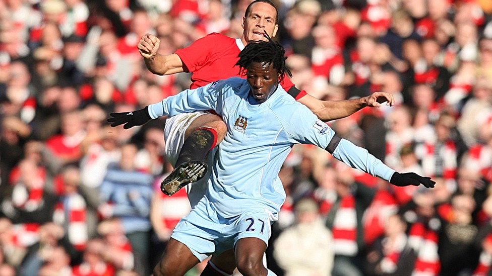 BENJANI V MANCHESTER UNITED: An excellent winning 'header' to give City the win