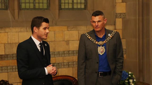 IN GOOD COMPANY: Gavin Makel introduces the Lord Mayor of Manchester, Councillor Carl Austin-Behan