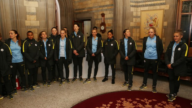 LINE-UP: The team await the Lord Mayor of Manchester, Councillor Carl Austin-Behan