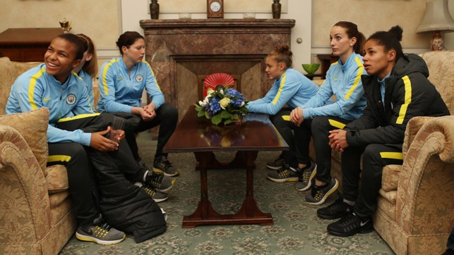 SURVEYING THE SURROUNDINGS: The players take in the Town Hall sights