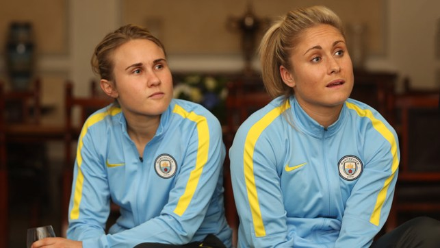 THOUGHT-PROVOKING: Izzy Christiansen and Steph Houghton take it all in