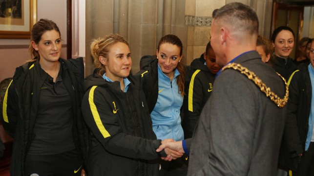 HANDSHAKE: Izzy Christiansen meets  the Lord Mayor of Manchester, Councillor Carl Austin-Behan