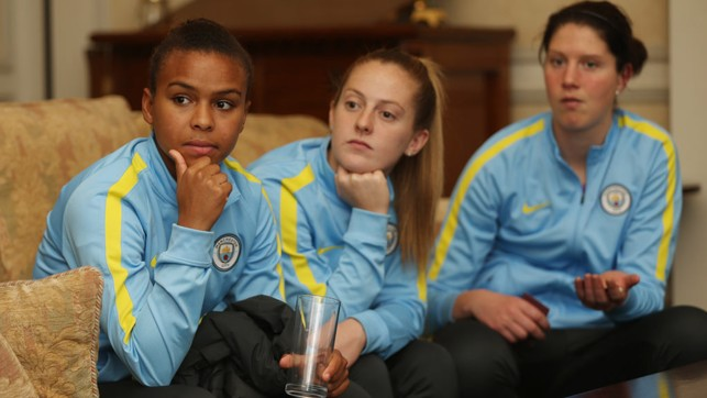 DEEP IN THOUGHT: Nikita Parris, Keira Walsh and Marie Hourihan reflect