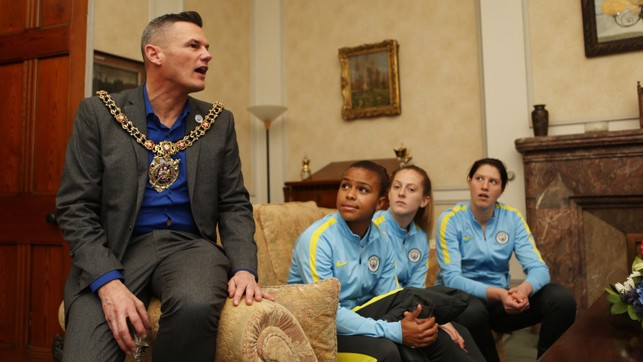PROUD: The Lord Mayor of Manchester, Councillor Carl Austin-Behan congratulates the team