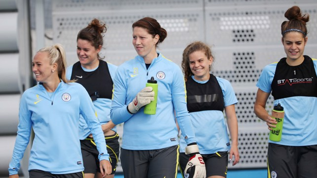 HERE COME THE GIRLS: The team step out onto the training pitches
