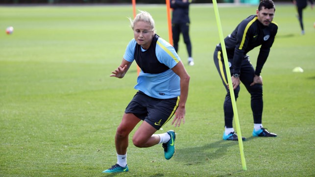 QUICKSTEP: Steph Houghton weaves around the markers