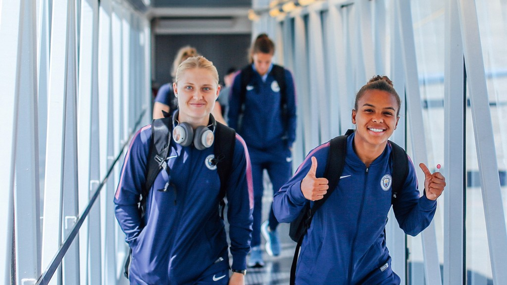THUMBS UP: A cheerful Nikita Parris and Mie Jans step into Toulouse Airport