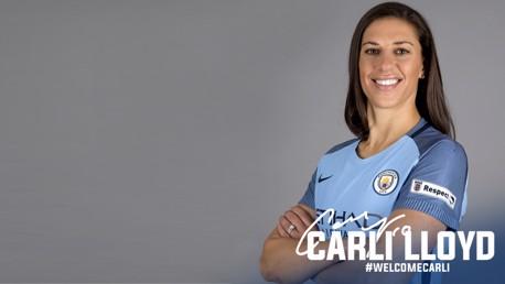 WELCOME CARLI: Carli Lloyd dons her new sky blue shirt