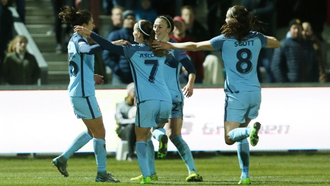 EUROPEAN DREAM: The USA star netted her first goal for the Club on her Champions League debut at Fortuna Hjorring