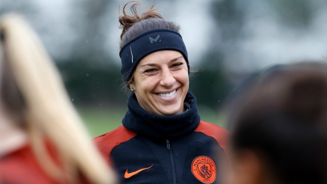 SETTLING: Carli Lloyd slotted in at the City Football Academy straight away