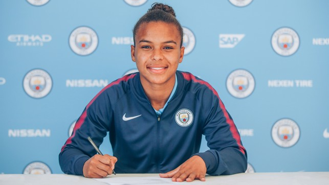 PEN TO PAPER: Nikita Parris is delighted to sign her new deal