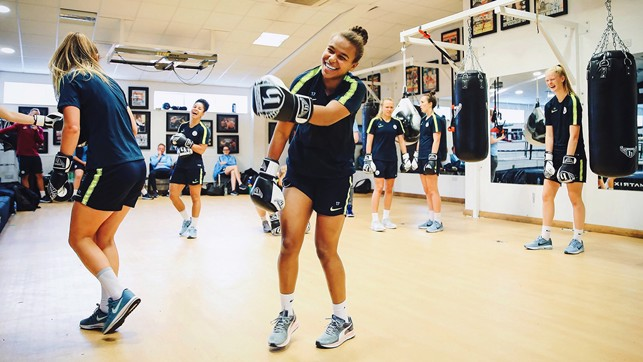 PLEASED AS PUNCH: Nikita Parris in familiar territory - her sister Natasha Jonas is a professional boxer