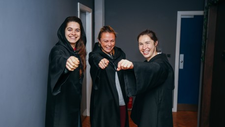 IN THE ZONE: The trio practice their wand-waving skills!