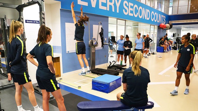 EVERY SECOND COUNTS: The players enjoying some gym work