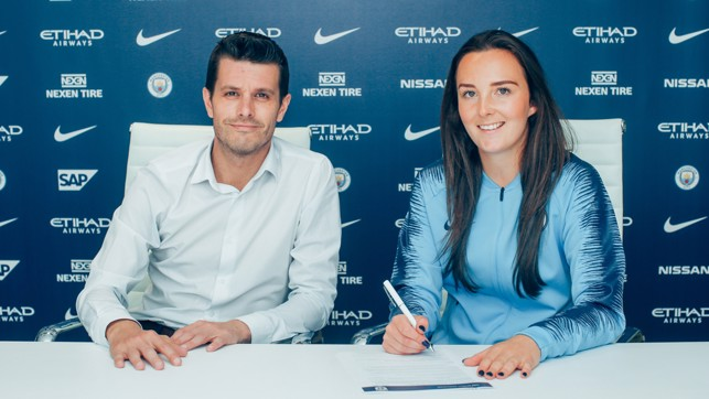 DEAL: Weir signing her two-year-contract with Gavin Makel.