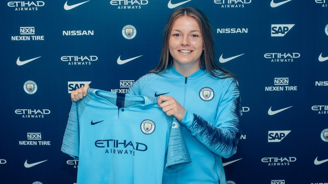 NEW KIT: Hemp poses with her new jersey.