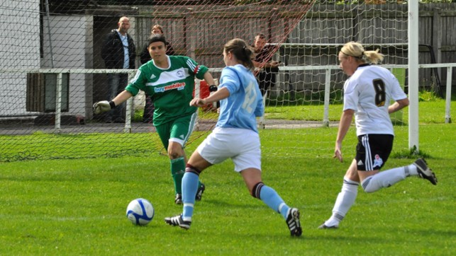 ON THE ATTACK: Jade Malpas bears down on goal against Derby County in the Premier League Northern Division in 2009