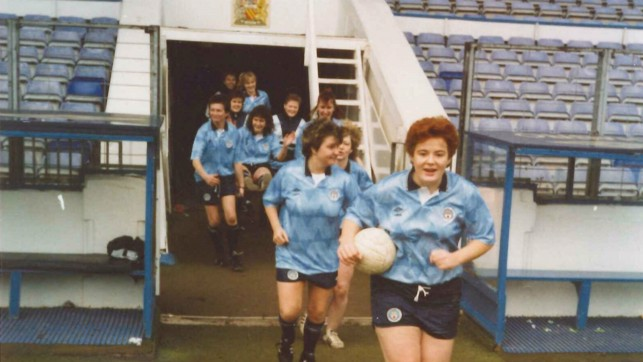 BLUE DREAMS: Heading out onto the Maine Road pitch