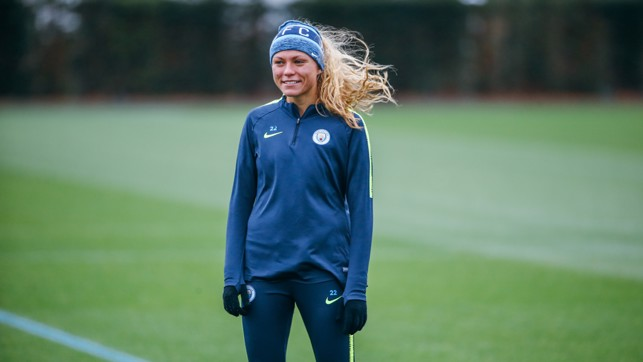 WINGER IN THE WIND: Claire Emslie enjoys the session