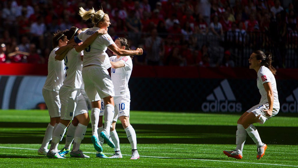 SEMI-FINAL SUCCESS: Steph and her team mates celebrate making it to the 2015 World Cup semi-finals.