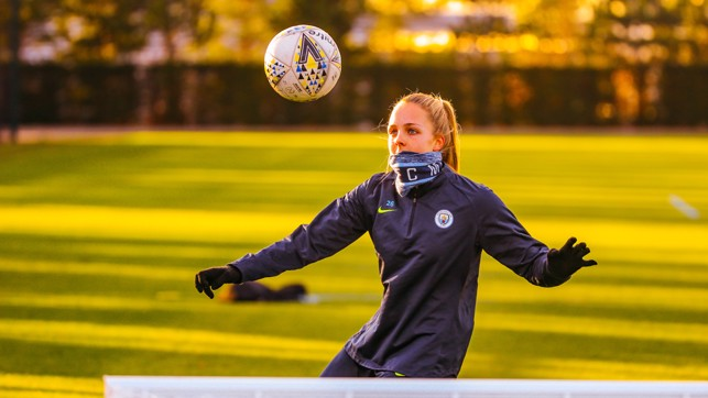 'KEEPING HER EYES ON THE BALL: Ellie Roebuck brings the ball down