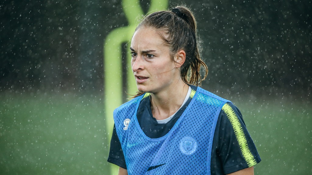 TRAINING IN THE RAIN: The conditions didn't bother Tessa Wullaert.