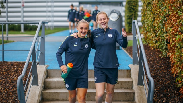 SAY CHEESE: Georgia Stanway and Keira Walsh look relaxed ahead of the trip to Chelsea