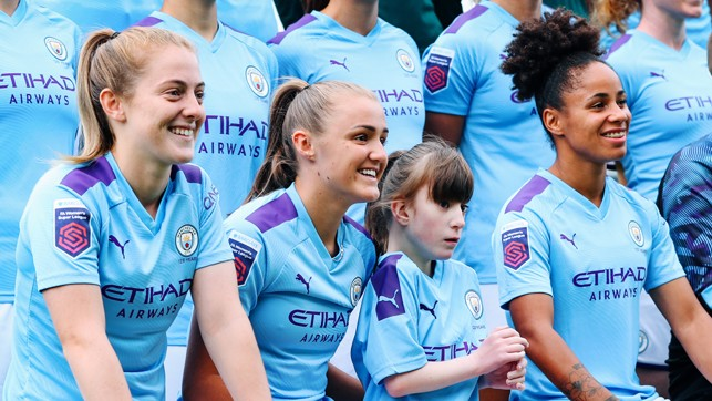 LITTLE LIONESS: Ava sits alongside a trio of City and England stars in Keira Walsh, Georgia Stanway and Demi Stokes