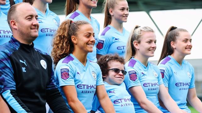 ALL SMILES: A delighted Helaina, alongside Matilde Fidalgo and Lauren Hemp