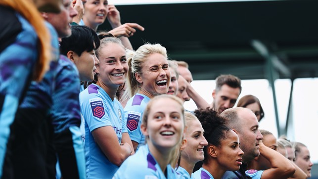 LEAD BY EXAMPLE: Skipper Steph Houghton has a case of the giggles!