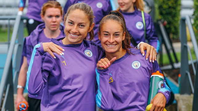 STRIKE A POSE: Janine Beckie and Tessa Wullaert smile for the camera
