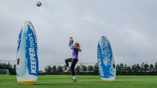 UP HIGH: Ellie Roebuck catches an aerial ball