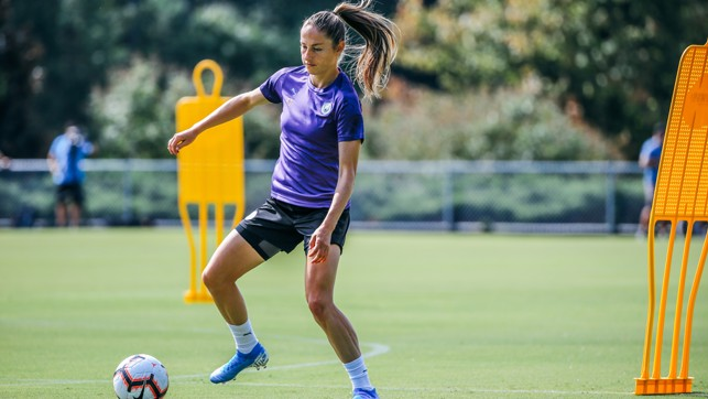 OFF THE MARK-ER: Janine Beckie practices her dribbling skills